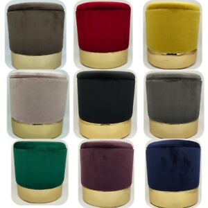 Round Ottoman Storage Pouffe Stool Soft Velvet Footstool Dressing Vanity Chair