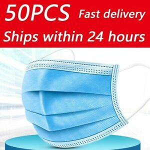 50 x Premium Quality - Face, Mouth & Nose Protection Blue Masks UK Seller