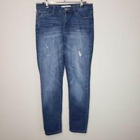 KanCan Skinny Mid Rise Jeans Size 28 Dark Wash Stretch Blue Denim Distressed