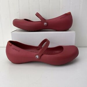 Crocs Women's Alice Flat Mary Jane Shoes Red Size 10 Lightweight Slip Resistant
