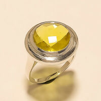 Natural Spanish Lemon Topaz Ring 925 Sterling Silver Women Wedding Jewelry Gifts