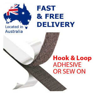 SELF ADHESIVE or SEW ON Hook and Loop Tape Black / White - Sides sold Separately