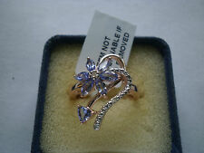 Exquisite Tanzanite & Diamond Floral Designer 14K Rose Gold/925 Ring Size R