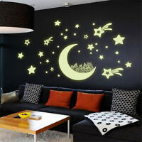Glow in the Dark Luminous Home Room Kids Bedroom Decor Wall Sticker Moon & Stars