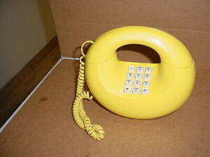 Western Electric Yellow Sculptura Touch Dial Donut Telephone Phone Mid Century