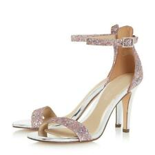Dune Pink Silver Glittery High Heel Smart Ankle Strap Evening Shoes Sandals sz 5