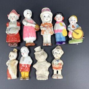 """Frozen Charlotte Bisque Penny Dolls Lot of 9 Japan 3.5"""" 2.5"""" Vintage"""
