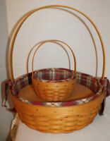 LONGABERGER LARGE & SMALL EASTER BASKET, CARDS, PROTECTORS, FABRICS, RISER, 2001