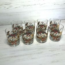 Culver Double Old Fashioned Rocks Glasses Gold Christmas Horn Plaid - Set of 8