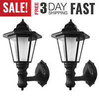 Solar Vintage LED Wall Light 2pcs Outdoor Lamp Sconce Garden Lantern Porch Light