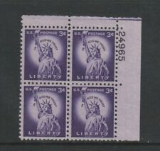 USA - 1954, 3c Violet, Statue of Liberty Block of 4 - M/m - SG 1033