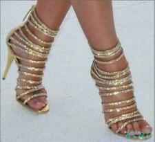 Women Sexy Gold Strappy High Heels Back Zipper Party Open Toe Sandals Shoes US 7