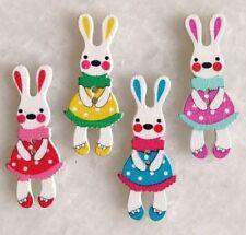 40 PCS Multicolor Animal Rabbit Shape Wooden For Sewing Scrapbook Buttons fnk037