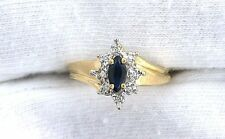 14Kt REAL Yellow Gold Marquise Blue Sapphire Diamond Accent Gemstone Ladies Ring