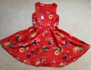 Baker by Ted Baker Girls' Red Floral Print Dress Age 13 Years