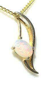 Christmas Women Opal Jewellery 18k YGP 925 Sterling Silver Fire Opal Pendant