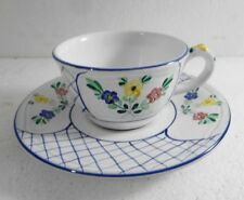 Herend Village Pottery Cup & Saucer Set Trellis Blue Trim Handpainted in Hungary