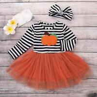 Toddler Kids Baby Girl Pumpkin Striped Long Sleeve Halloween Dress+Headbands set
