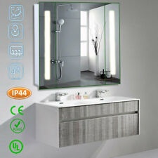 LED Illuminated Bathroom Mirror Cabinet with Sensor Demister Pad Shaver Socket