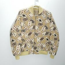 Unisex Mens Jacket XL Bomber Poker Cards Tapestry Zip Up Pockets Lined Euchre