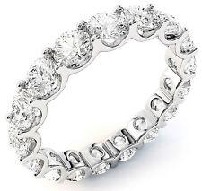 "3.41 ct Round Diamond Eternity Ring 14k Gold Band 17 x .20 ""U"" shape F VS/SI1"