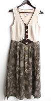 Damen Trachten Kleid ärmellos Leinen natur, Rock grün Gr. 38 v. Country Line