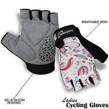 Ladies Cycling Gloves Cycle Half Finger Bicycle GEL Padded Fingerless 3s Sports XL