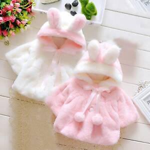 Kids Baby Girl Faux Fur Jacket Fleece Teddy Bear Fleece Coat Winter Warm Outwear