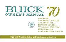 1970 Buick Electra LeSabre Wildcat Owners Manual User Guide Operator Book Fuses