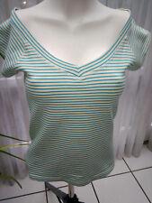 Shirt 36 Oberteil Carmenausschnitt gestreift Stretch