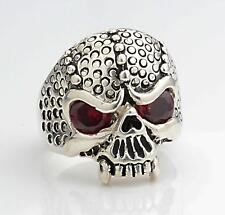 NEW Made in U.S.A. Sterling Silver Biker Skull Ring Red Stone Eyes size 11 1/2