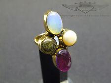 Ring 925 Silber, Amethyst, Opal,Perle, Labradorit, 24 Karat vergoldet, Edelstein