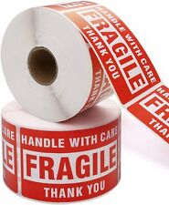500 Per Roll 2x3 FRAGILE HANDLE WITH CARE Stickers, Easy Peel and Apply