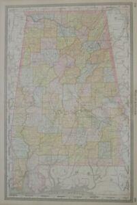 Original 1883 Rand McNally Map ALABAMA Mobile Montgomery Birmingham Railroads