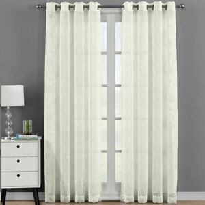 2PC Andora Embroidered Sheer Window Curtain Panels Grommet Top
