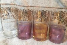 Vintage Gold Trim Multi Color Glass Tumblers Set Of Four Mid Century