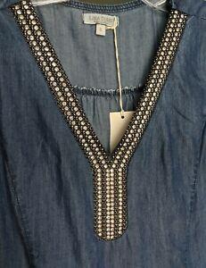 Large ITALIAN Denim Blue Rhinestone Beaded V- Neck Shift Dress comfortable NWT