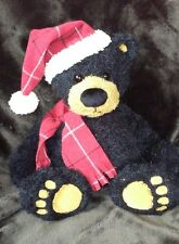 Gund Cole black bear red plaid hat scarf pot belly 88066 winter plush animal