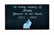 Pet Memorial Personalised Engraved Slate Stone Grave Marker Plaque Rabbit 7 x4""