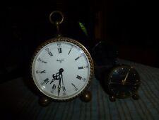 Vintage LOOPING & BULOVA 8 BRASS MINIATURE ALARM CLOCK Lot Of 2 (For Repair) !