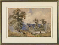Framed Late 19th Century Watercolour - Sheep in a Landscape