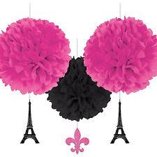 3 un giorno a Parigi Oro Rosa Nero Festa Di Compleanno Appeso Decorazioni Soffice Palla