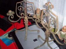 IMPORTANTE PAIRE DE LAMPE 1950 SUR PIEDS FER FORGE 38X31 CM LIVRAISON MONDE