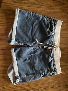 Girls Justice Sz 18 Plus Med Wash Jogger Denim Shorts  Pull on Elastic Waist