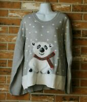 Holiday Time Ugly Christmas Sweater Grey with Fuzzy Polar Bear Size XL