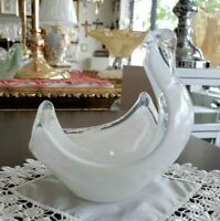 MURANO Italian Glass Style Swan Shaped Candy Dish Table Centre White and Clear