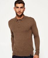 New Mens Superdry Orange Label Knit Polo Jumper Light Brown