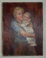 Ölbild Mutter mit Kind-Leinwand-Holz: DR FR Schoenfeld DÜSSELDORF
