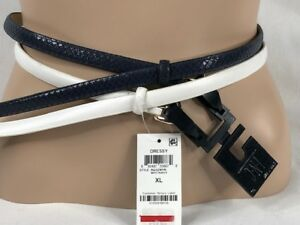 Women's NWT INC International Concepts 2-for-1 Skinny Belt White/Navy