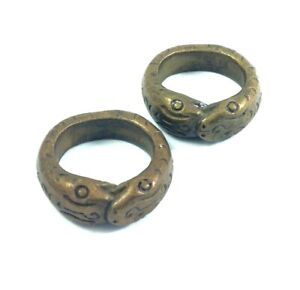 2 pc Antique Brass 2 Head SNAKE RING Power Love Infinity Charm Fetish Amulet